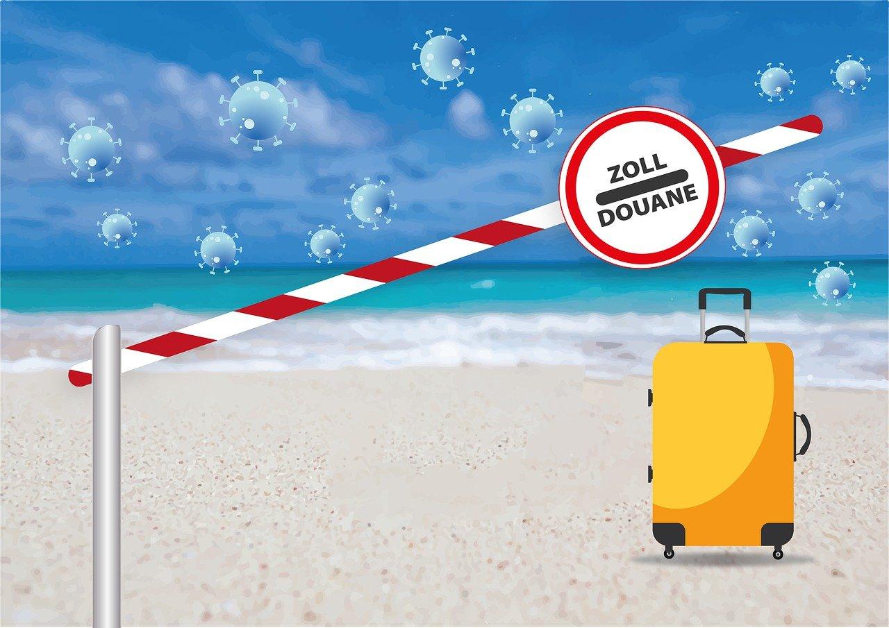 Grafik mit gelben Koffer am Strand, davor ein Schlagbaum des Zolls im Hintergrund Meer, Himmel und Corona Viren