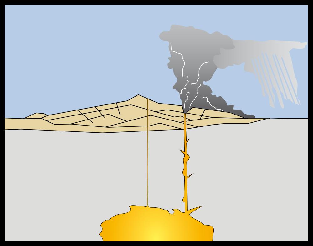 Grafische Darstellung eines Vulkanausbruchs