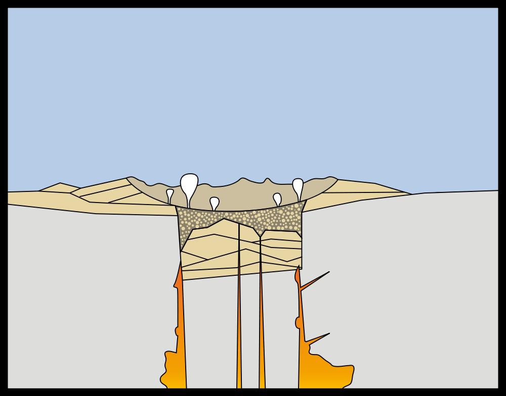 Grafische Darstellung eines Vulkanausbruchs: Asche- und Geröllablagerungen am Boden