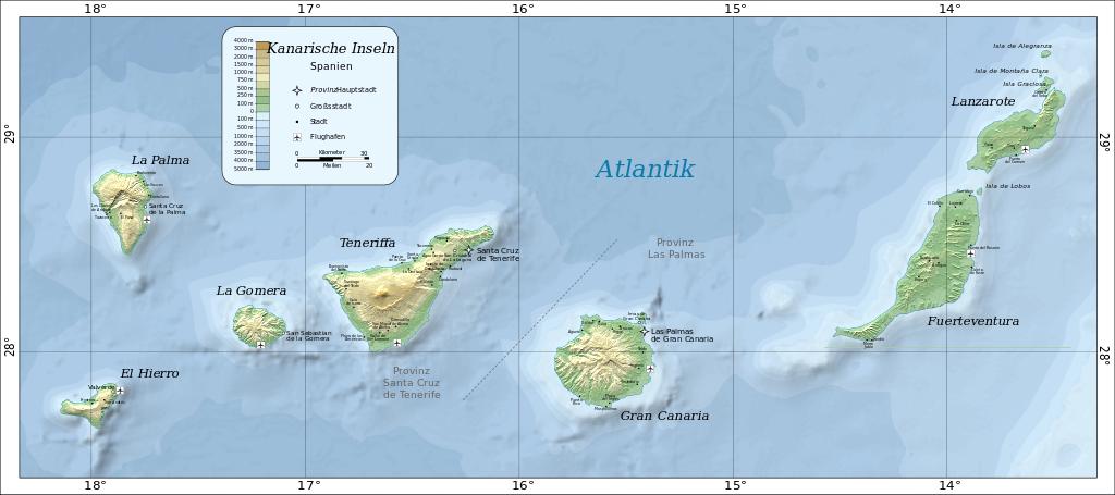 Landkarte mit den Kanarischen Inseln