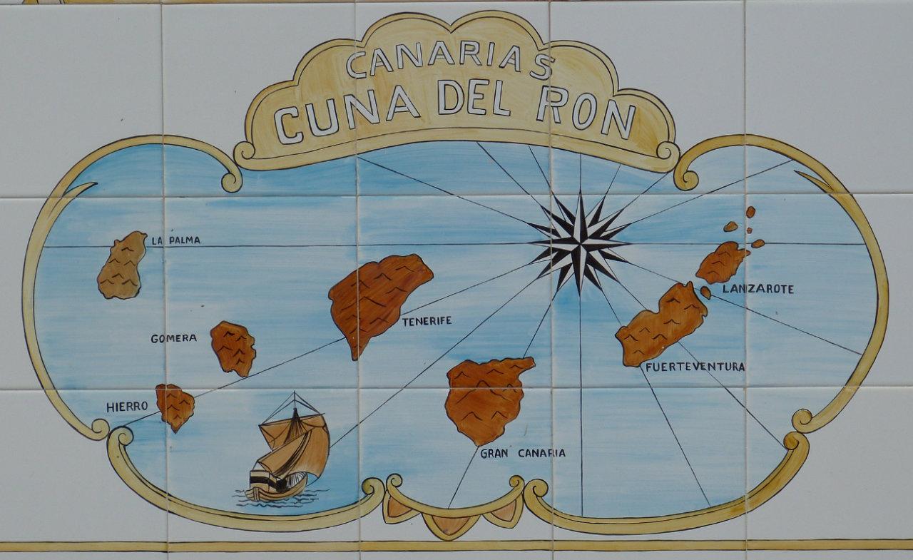Grafische Abbildung der Kanarischen Inseln und der Überschrift Ritas de Ron