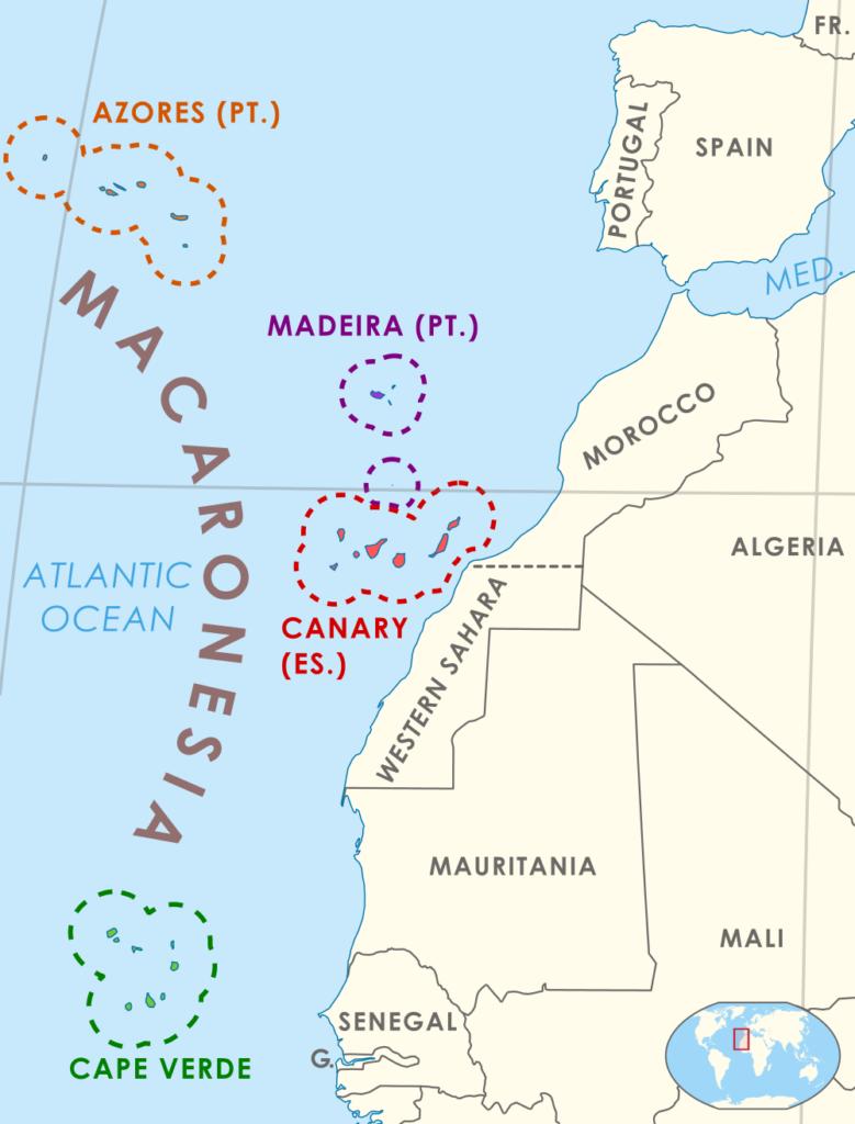 Landkarte mit Lage von Makaronesien mit den Inselgruppen der Azoren, Madeira, Kanaren und Kapverden vor Nordafrika